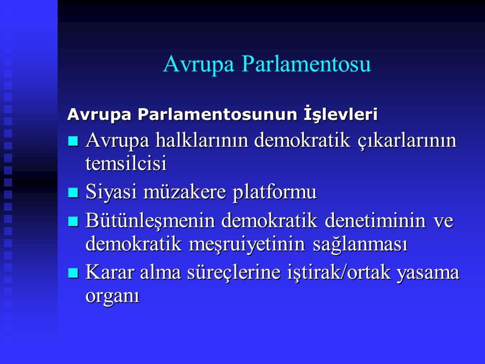 Avrupa Parlamentosu Avrupa Parlamentosunun İşlevleri Avrupa halklarının demokratik çıkarlarının temsilcisi Avrupa halklarının demokratik çıkarlarının