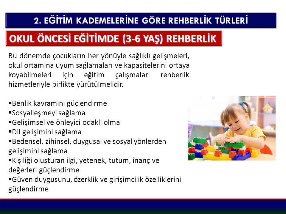 OKUL ÖNCESİ EĞİTİMDE (3-6 YAŞ) REHBERLİK Bu dönemde çocukların her yönüyle sağlıklı gelişmeleri, okul ortamına uyum sağlamaları ve kapasitelerini orta