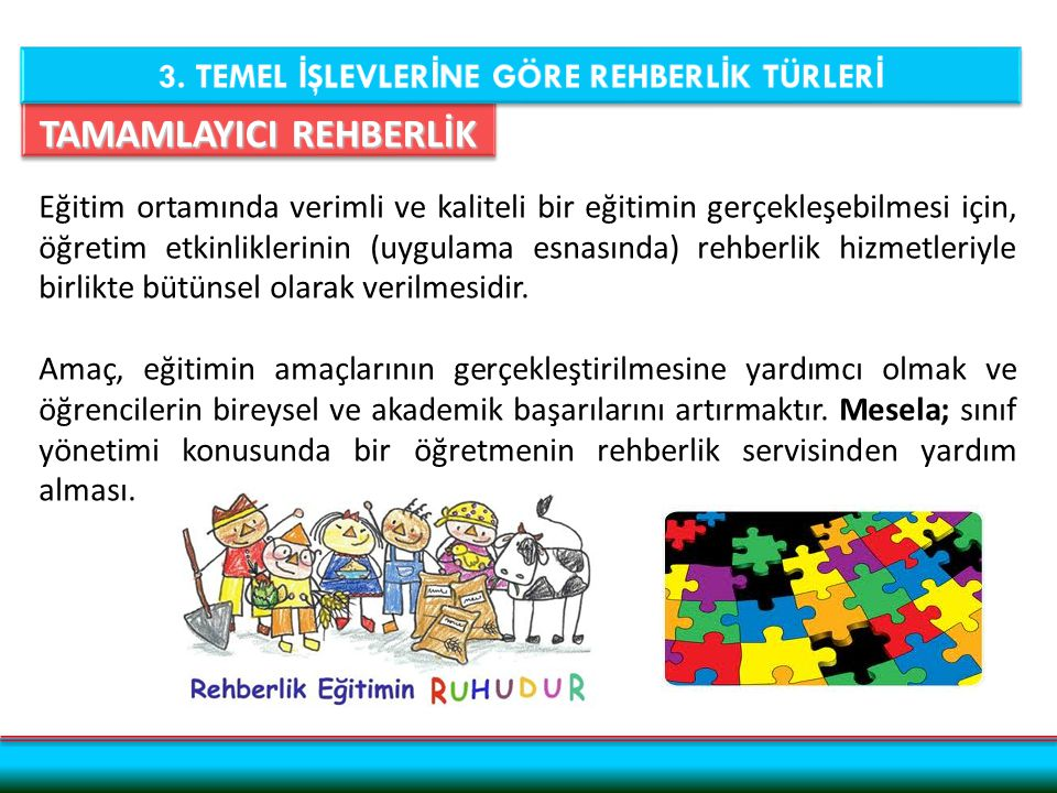 TAMAMLAYICI REHBERLİK Eğitim ortamında verimli ve kaliteli bir eğitimin gerçekleşebilmesi için, öğretim etkinliklerinin (uygulama esnasında) rehberlik