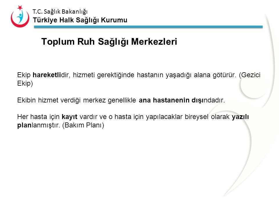 T.C. Sağlık Bakanlığı Türkiye Halk Sağlığı Kurumu Merkezlerin Amaç ve Hedefleri Ruh sağlığı sorunları bulunan bireylerin durumlarını, işlevlerini ve i