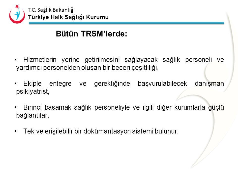 T.C. Sağlık Bakanlığı Türkiye Halk Sağlığı Kurumu Toplum Ruh Sağlığı Merkezleri Ekip hareketlidir, hizmeti gerektiğinde hastanın yaşadığı alana götürü