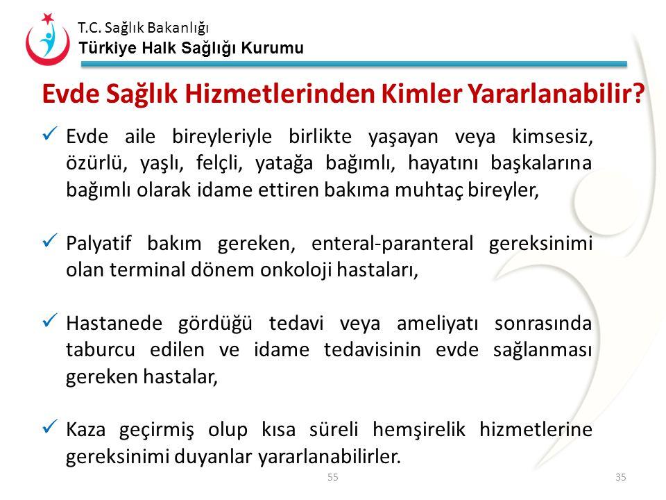 T.C. Sağlık Bakanlığı Türkiye Halk Sağlığı Kurumu Ülkemizde Evde Bakım Hizmetleri 10 Mart 2005 Evde Bakım Hizmetlerinin Sunumu Hakkında Yönetmelik Öze