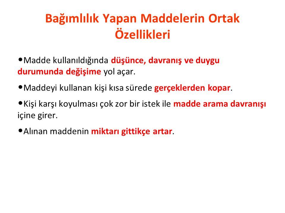 T.C. Sağlık Bakanlığı Türkiye Halk Sağlığı Kurumu Bağımlılık Yapıcı Maddeler Uçucular (bali, tiner) Sigara Alkol İlaçlar (benzodiazepinler, opiyat tür