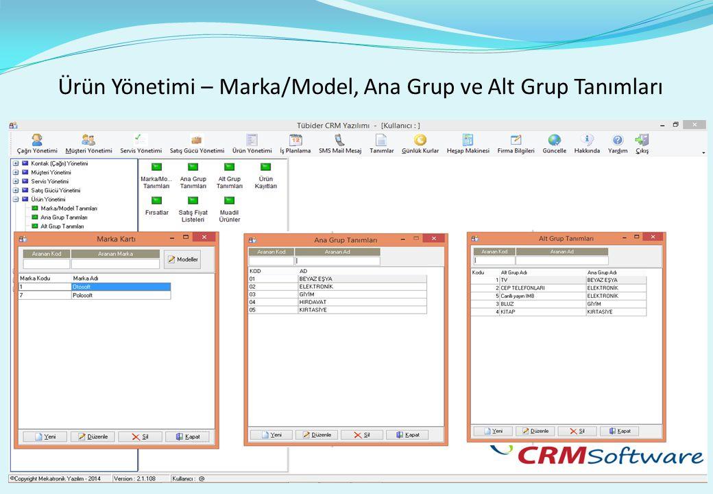 Ürün Yönetimi – Marka/Model, Ana Grup ve Alt Grup Tanımları