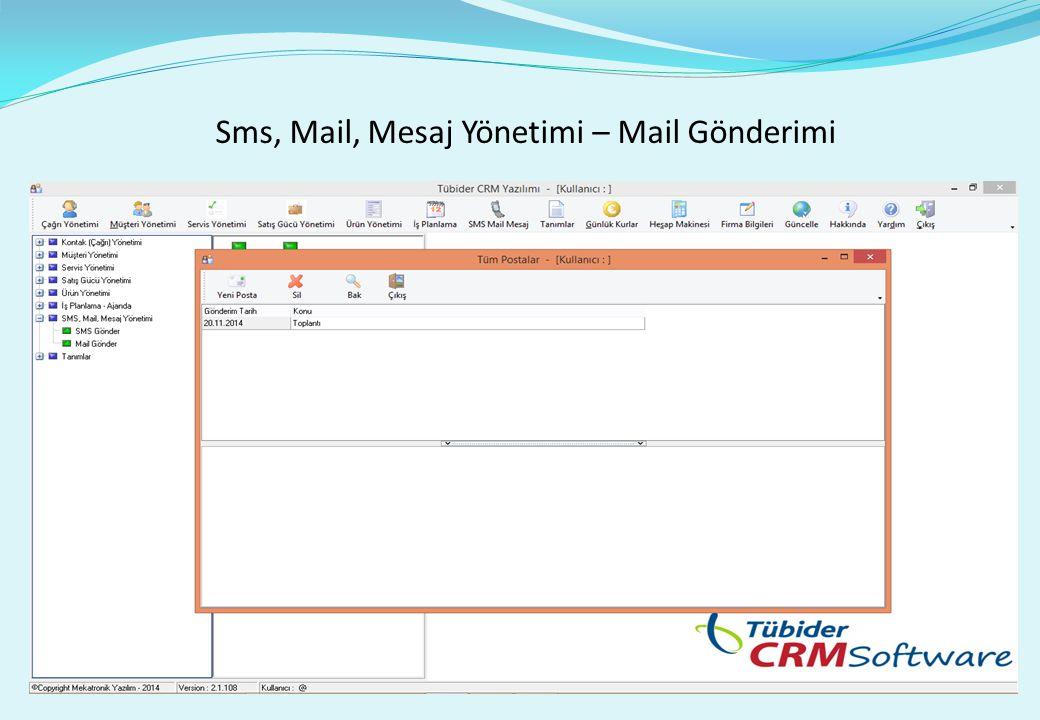 Sms, Mail, Mesaj Yönetimi – Mail Gönderimi