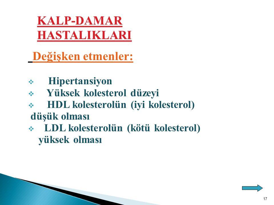 Değişken etmenler:  Hipertansiyon  Yüksek kolesterol düzeyi  HDL kolesterolün (iyi kolesterol) düşük olması  LDL kolesterolün (kötü kolesterol) yü