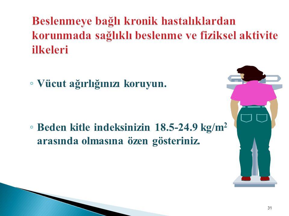◦ Vücut ağırlığınızı koruyun. ◦ Beden kitle indeksinizin 18.5-24.9 kg/m 2 arasında olmasına özen gösteriniz. 31