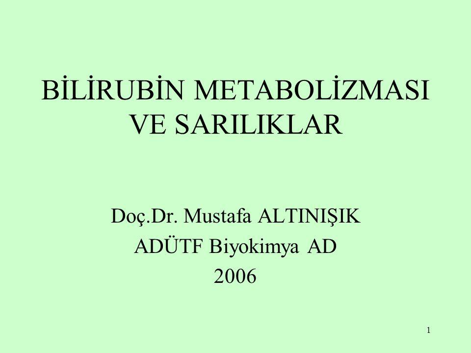 1 BİLİRUBİN METABOLİZMASI VE SARILIKLAR Doç.Dr. Mustafa ALTINIŞIK ADÜTF Biyokimya AD 2006