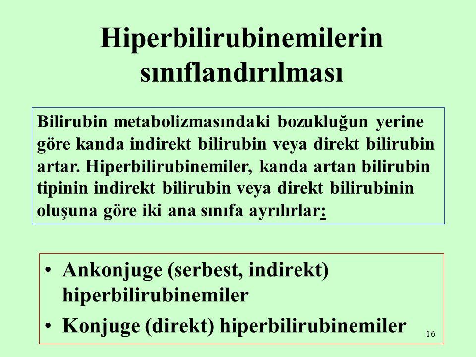 16 Hiperbilirubinemilerin sınıflandırılması Ankonjuge (serbest, indirekt) hiperbilirubinemiler Konjuge (direkt) hiperbilirubinemiler Bilirubin metabol