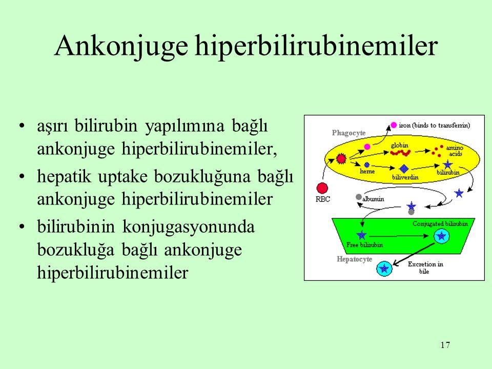 17 Ankonjuge hiperbilirubinemiler aşırı bilirubin yapılımına bağlı ankonjuge hiperbilirubinemiler, hepatik uptake bozukluğuna bağlı ankonjuge hiperbil