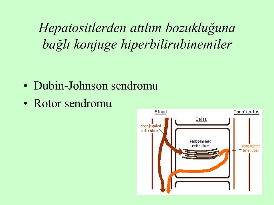 22 Hepatositlerden atılım bozukluğuna bağlı konjuge hiperbilirubinemiler Dubin-Johnson sendromu Rotor sendromu