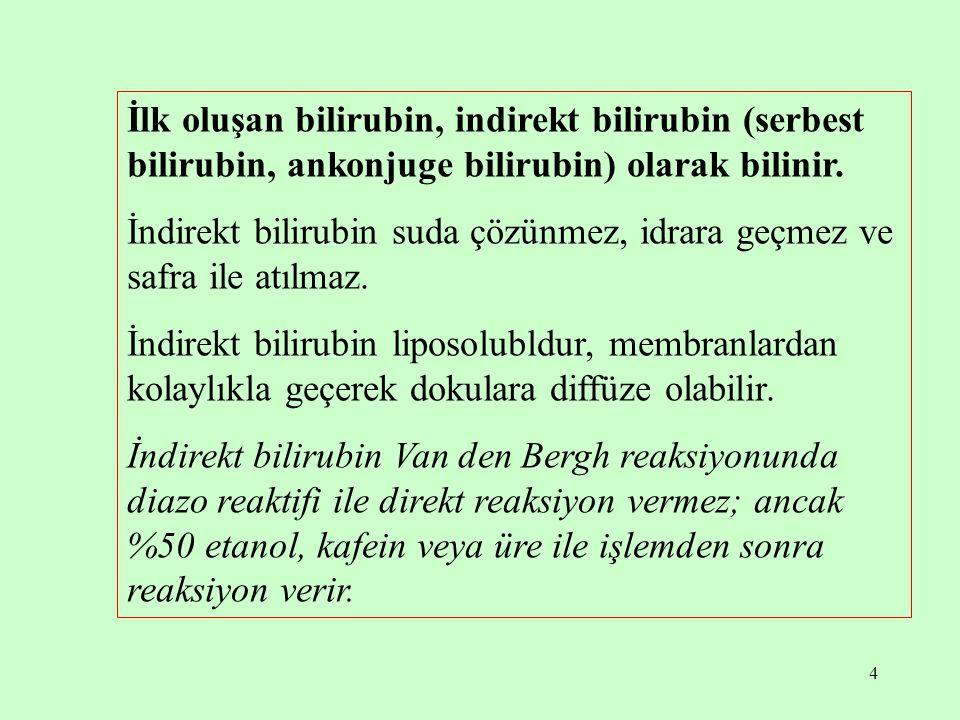 15 Serum total bilirubin düzeyinin normalden yüksek olması hiperbilirubinemi olarak tanımlanır.
