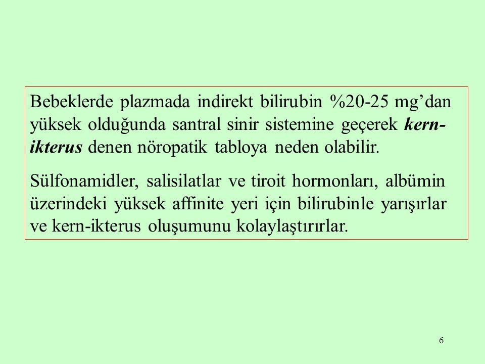 17 Ankonjuge hiperbilirubinemiler aşırı bilirubin yapılımına bağlı ankonjuge hiperbilirubinemiler, hepatik uptake bozukluğuna bağlı ankonjuge hiperbilirubinemiler bilirubinin konjugasyonunda bozukluğa bağlı ankonjuge hiperbilirubinemiler