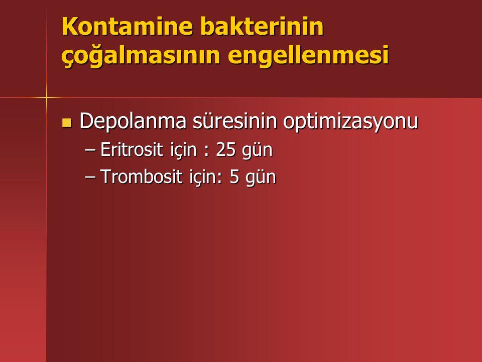 Kontamine bakterinin çoğalmasının engellenmesi Depolanma süresinin optimizasyonu Depolanma süresinin optimizasyonu –Eritrosit için : 25 gün –Trombosit için: 5 gün