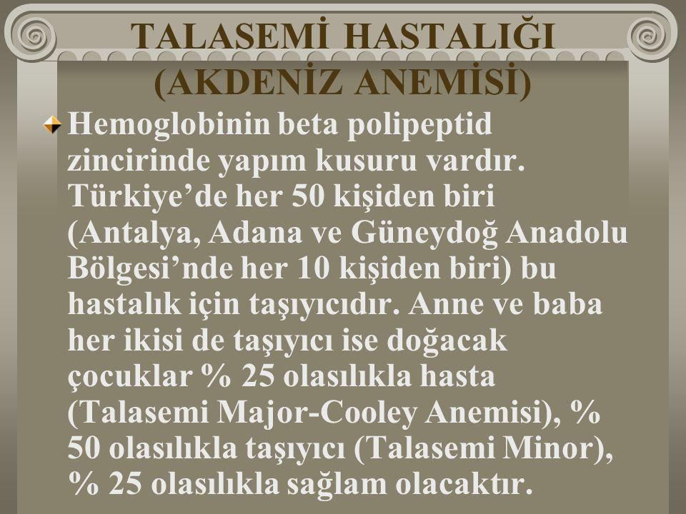 TALASEMİ HASTALIĞI (AKDENİZ ANEMİSİ) Hemoglobinin beta polipeptid zincirinde yapım kusuru vardır. Türkiye'de her 50 kişiden biri (Antalya, Adana ve Gü