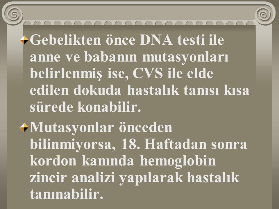 Gebelikten önce DNA testi ile anne ve babanın mutasyonları belirlenmiş ise, CVS ile elde edilen dokuda hastalık tanısı kısa sürede konabilir. Mutasyon