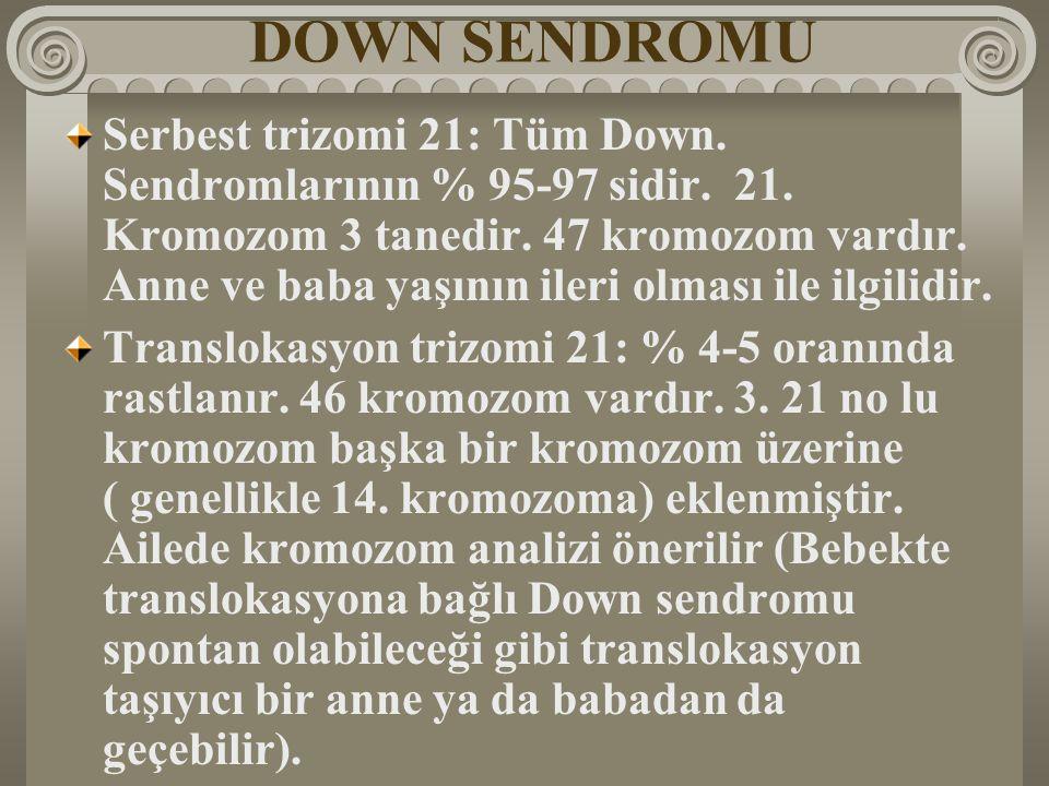 DOWN SENDROMU Serbest trizomi 21: Tüm Down. Sendromlarının % 95-97 sidir. 21. Kromozom 3 tanedir. 47 kromozom vardır. Anne ve baba yaşının ileri olmas