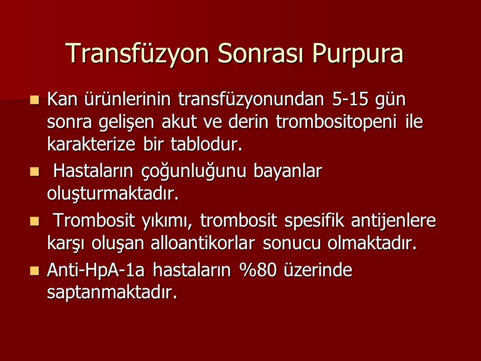 Transfüzyon Sonrası Purpura Kan ürünlerinin transfüzyonundan 5-15 gün sonra gelişen akut ve derin trombositopeni ile karakterize bir tablodur. Kan ürü