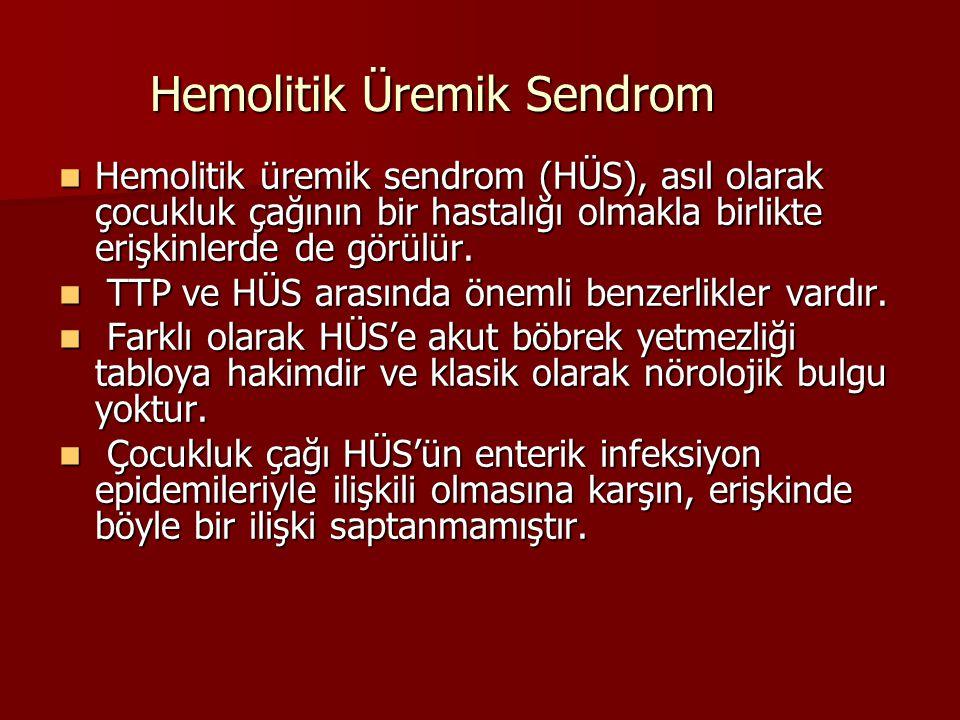 Hemolitik Üremik Sendrom Hemolitik üremik sendrom (HÜS), asıl olarak çocukluk çağının bir hastalığı olmakla birlikte erişkinlerde de görülür.