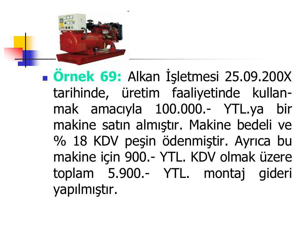Örnek 69: Alkan İşletmesi 25.09.200X tarihinde, üretim faaliyetinde kullan- mak amacıyla 100.000.- YTL.ya bir makine satın almıştır. Makine bedeli ve