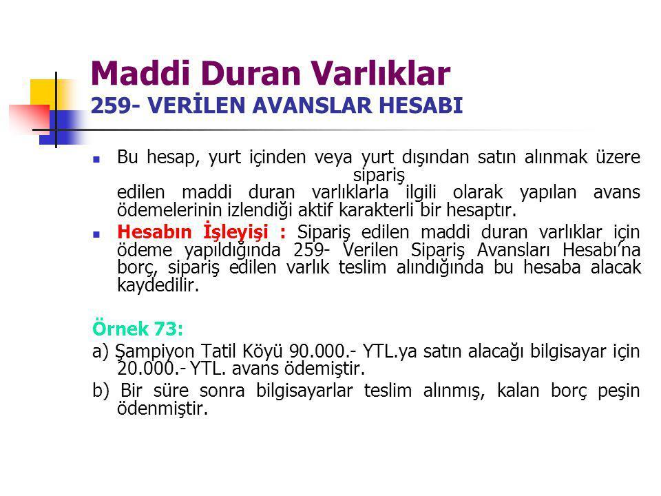Maddi Duran Varlıklar 259- VERİLEN AVANSLAR HESABI Bu hesap, yurt içinden veya yurt dışından satın alınmak üzere sipariş edilen maddi duran varlıklarl