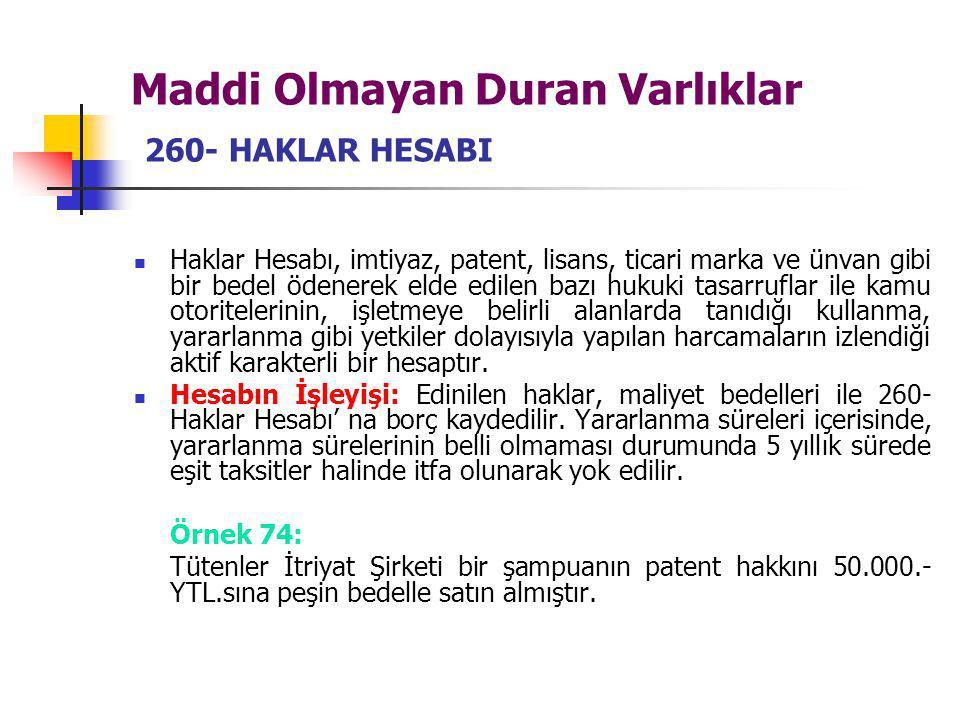 Maddi Olmayan Duran Varlıklar 260- HAKLAR HESABI Haklar Hesabı, imtiyaz, patent, lisans, ticari marka ve ünvan gibi bir bedel ödenerek elde edilen baz
