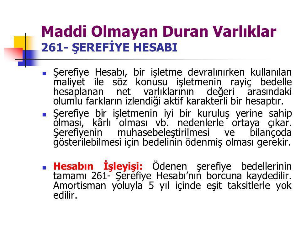 Maddi Olmayan Duran Varlıklar 261- ŞEREFİYE HESABI Şerefiye Hesabı, bir işletme devralınırken kullanılan maliyet ile söz konusu işletmenin rayiç bedel