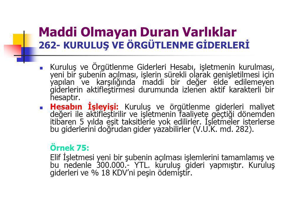 Maddi Olmayan Duran Varlıklar 262- KURULUŞ VE ÖRGÜTLENME GİDERLERİ Kuruluş ve Örgütlenme Giderleri Hesabı, işletmenin kurulması, yeni bir şubenin açıl