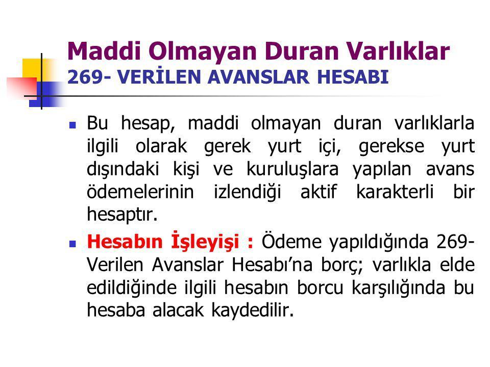 Maddi Olmayan Duran Varlıklar 269- VERİLEN AVANSLAR HESABI Bu hesap, maddi olmayan duran varlıklarla ilgili olarak gerek yurt içi, gerekse yurt dışınd