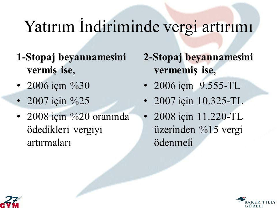 Yatırım İndiriminde vergi artırımı 1-Stopaj beyannamesini vermiş ise, 2006 için %30 2007 için %25 2008 için %20 oranında ödedikleri vergiyi artırmalar