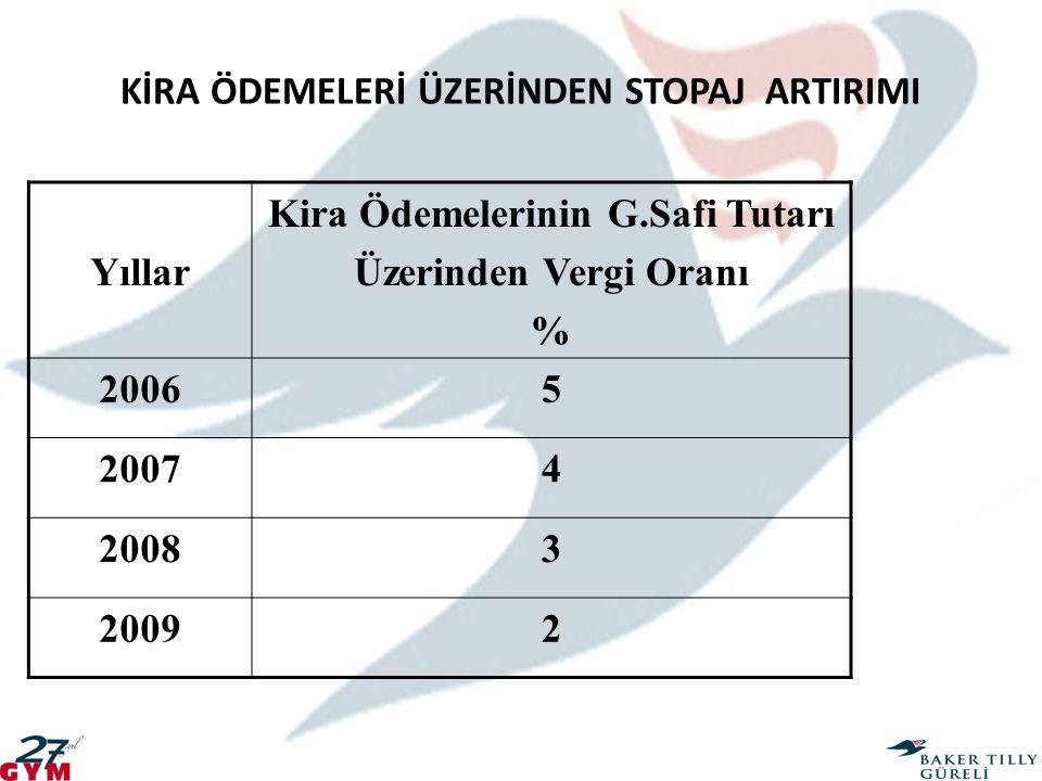 KİRA ÖDEMELERİ ÜZERİNDEN STOPAJ ARTIRIMI Yıllar Kira Ödemelerinin G.Safi Tutarı Üzerinden Vergi Oranı % 20065 20074 20083 20092