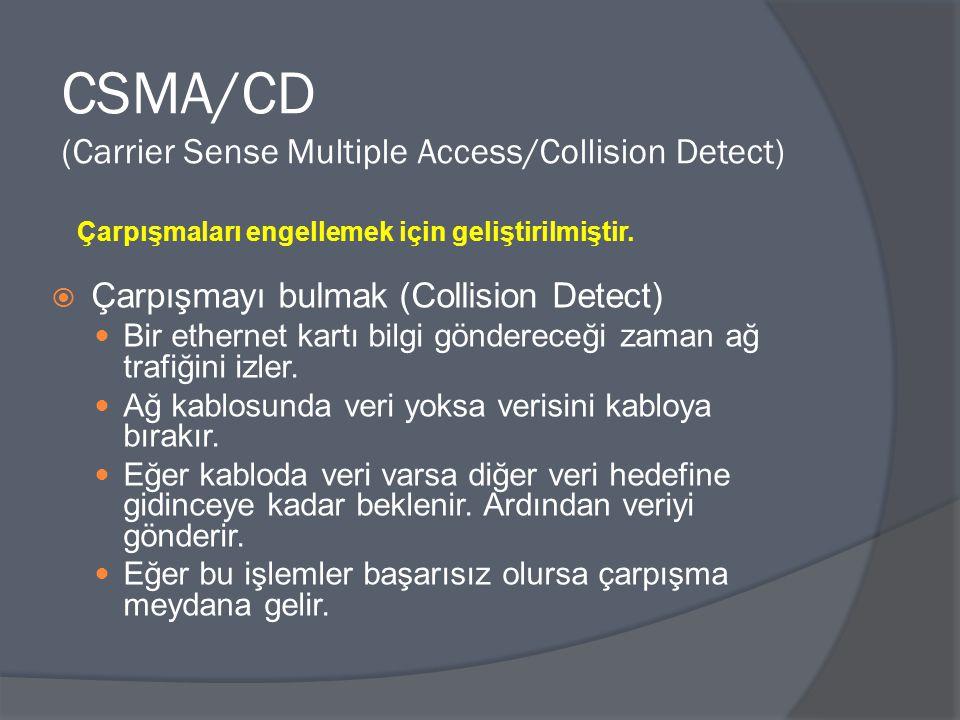 CSMA/CD (Carrier Sense Multiple Access/Collision Detect)  Çarpışmayı bulmak (Collision Detect) Bir ethernet kartı bilgi göndereceği zaman ağ trafiğin