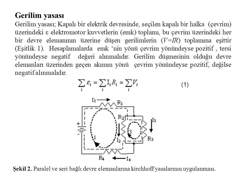 Gerilim yasası Gerilim yasası; Kapalı bir elektrik devresinde, seçilen kapalı bir halka (çevrim) üzerindeki  elektromotor kuvvetlerin (emk) toplamı, bu çevrim üzerindeki her bir devre elemanının üzerine düşen gerilimlerin (V=IR) toplamına eşittir (Eşitlik 1).