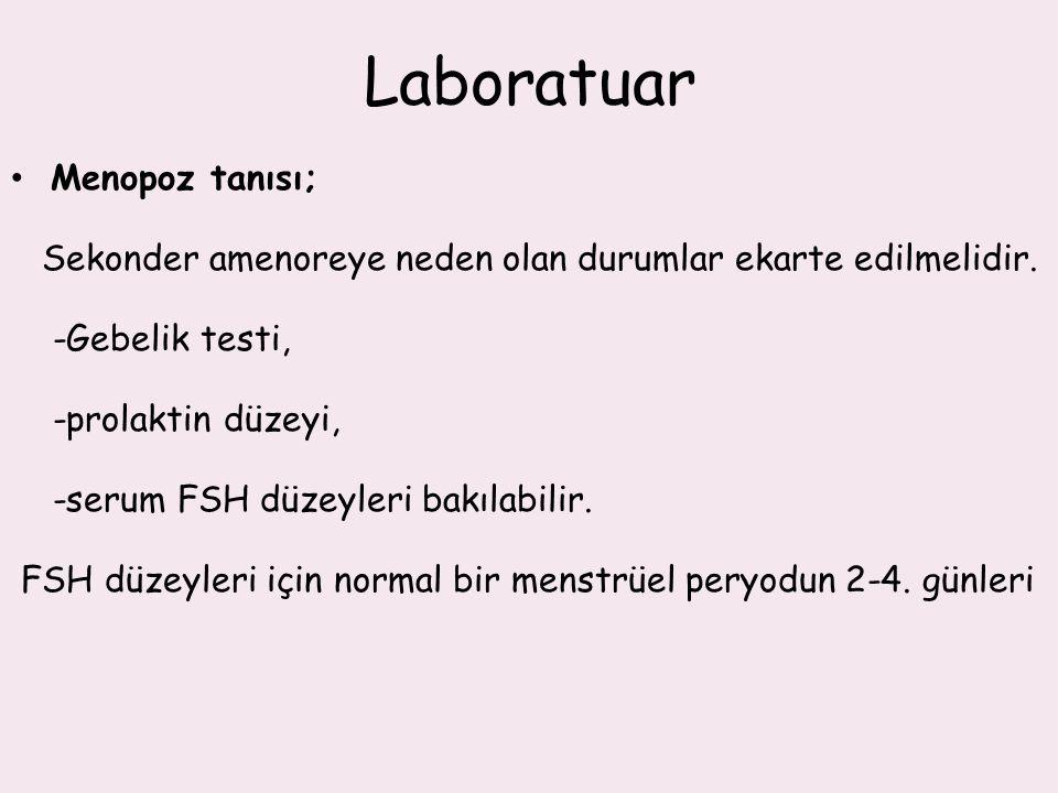 Laboratuar Menopoz tanısı; Sekonder amenoreye neden olan durumlar ekarte edilmelidir. -Gebelik testi, -prolaktin düzeyi, -serum FSH düzeyleri bakılabi