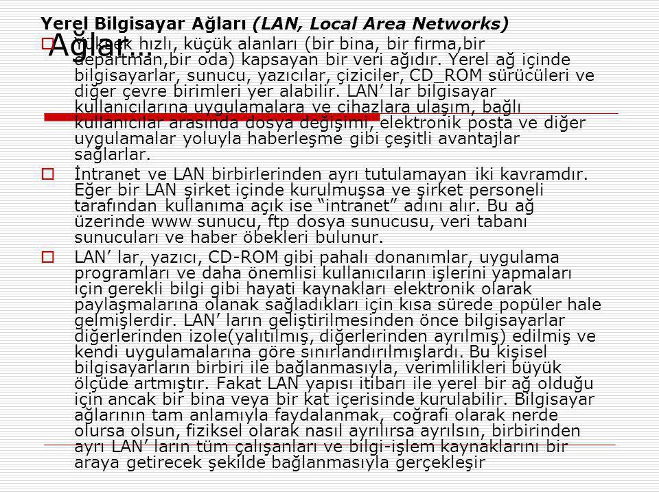 Ağlar… Yerel Bilgisayar Ağları (LAN, Local Area Networks)  Yüksek hızlı, küçük alanları (bir bina, bir firma,bir departman,bir oda) kapsayan bir veri