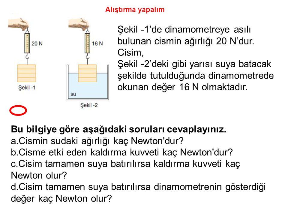Şekil -1'de dinamometreye asılı bulunan cismin ağırlığı 20 N'dur. Cisim, Şekil -2'deki gibi yarısı suya batacak şekilde tutulduğunda dinamometrede oku