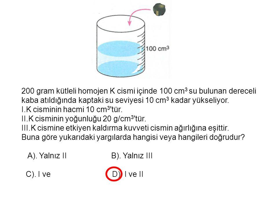 200 gram kütleli homojen K cismi içinde 100 cm 3 su bulunan dereceli kaba atıldığında kaptaki su seviyesi 10 cm 3 kadar yükseliyor. I.K cisminin hacmi