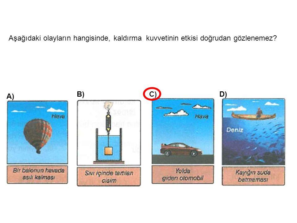 Aşağıdaki olayların hangisinde, kaldırma kuvvetinin etkisi doğrudan gözlenemez? B)C)D) A)
