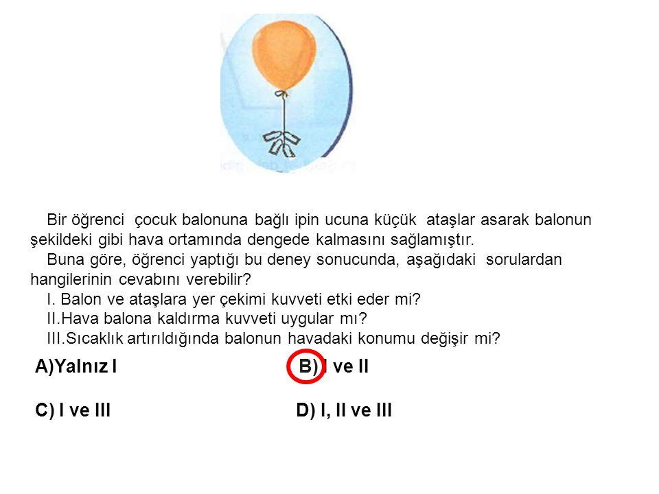 Bir öğrenci çocuk balonuna bağlı ipin ucuna küçük ataşlar asarak balonun şekildeki gibi hava ortamında dengede kalmasını sağlamıştır. Buna göre, öğren