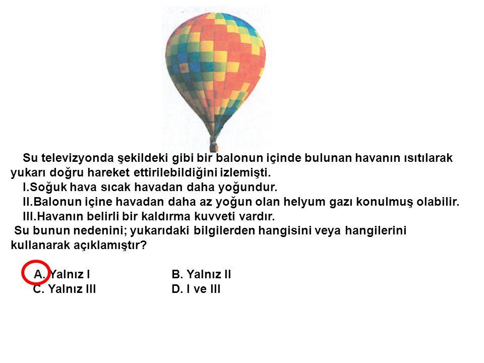 Su televizyonda şekildeki gibi bir balonun içinde bulunan havanın ısıtılarak yukarı doğru hareket ettirilebildiğini izlemişti. I.Soğuk hava sıcak hava
