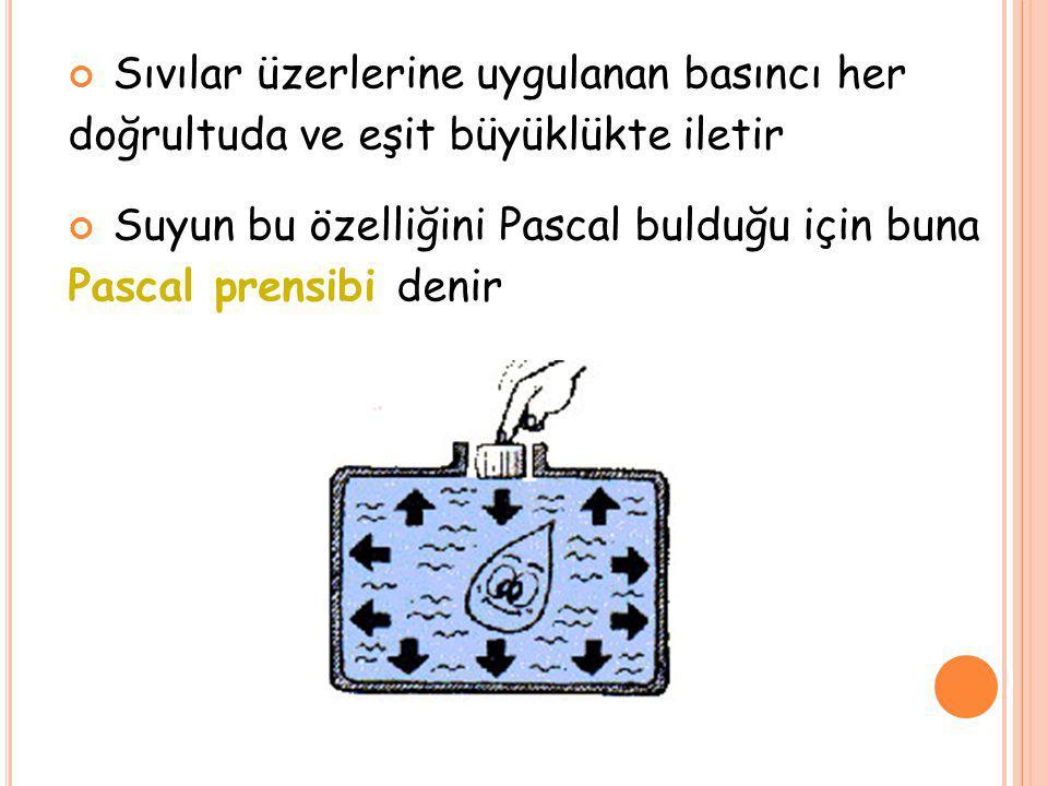 Sıvılar üzerlerine uygulanan basıncı her doğrultuda ve eşit büyüklükte iletir Suyun bu özelliğini Pascal bulduğu için buna Pascal prensibi denir