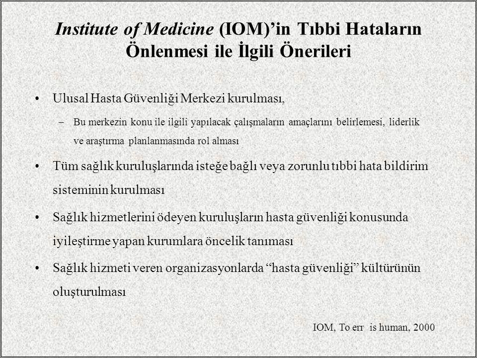 Institute of Medicine (IOM)'in Tıbbi Hataların Önlenmesi ile İlgili Önerileri Ulusal Hasta Güvenliği Merkezi kurulması, –Bu merkezin konu ile ilgili y