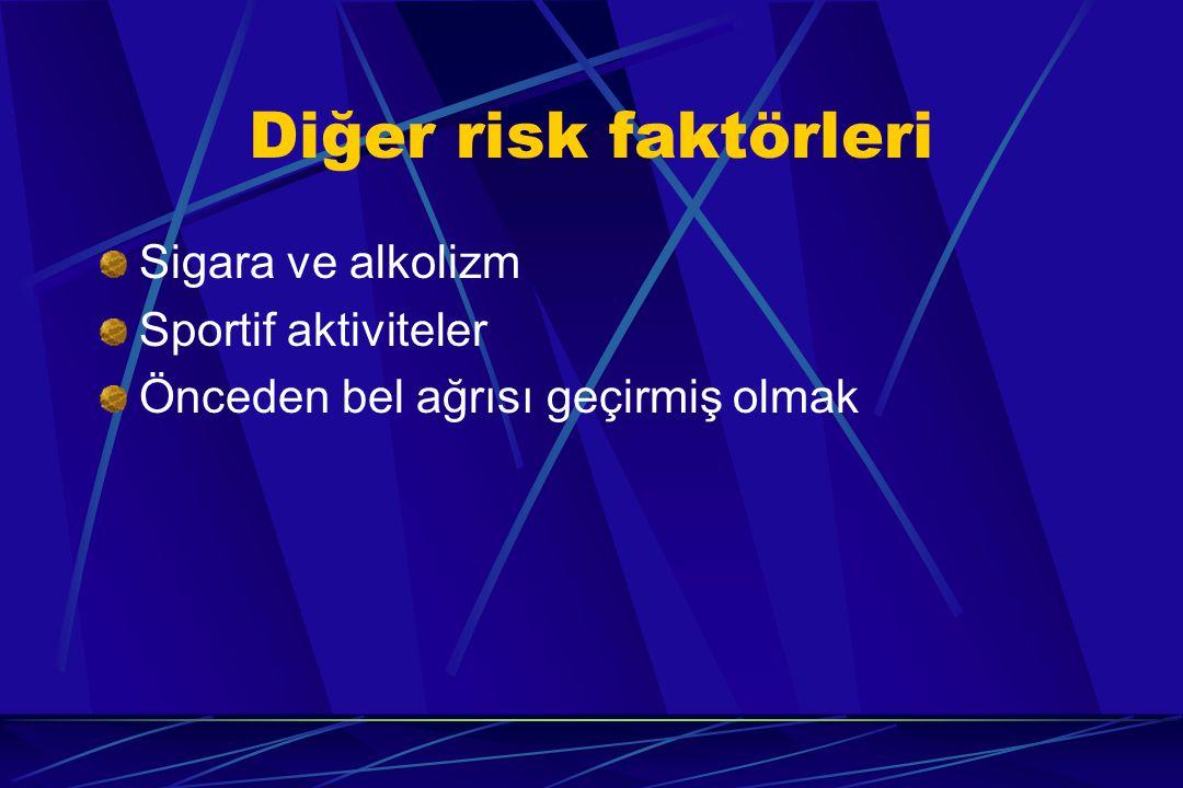 Diğer risk faktörleri Sigara ve alkolizm Sportif aktiviteler Önceden bel ağrısı geçirmiş olmak