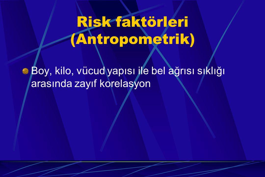 Risk faktörleri (Antropometrik) Boy, kilo, vücud yapısı ile bel ağrısı sıklığı arasında zayıf korelasyon