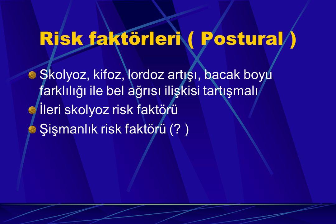 Risk faktörleri ( Postural ) Skolyoz, kifoz, lordoz artışı, bacak boyu farklılığı ile bel ağrısı ilişkisi tartışmalı İleri skolyoz risk faktörü Şişman