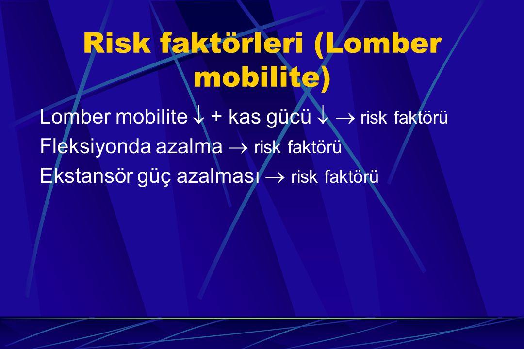 Risk faktörleri (Lomber mobilite) Lomber mobilite  + kas gücü   risk faktörü Fleksiyonda azalma  risk faktörü Ekstansör güç azalması  risk faktör