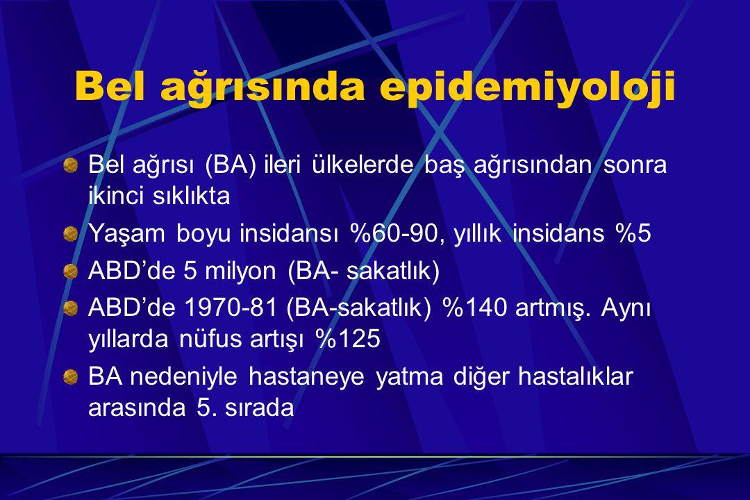 SINIFLANDIRMA I – Kas- iskelet sistemi kökenli ağrılar - Dejeneratif - İnflamatuar - Metabolik - Neoplastik - İnfeksiyöz - Travmatik - Konjenital - Kas hastalıkları