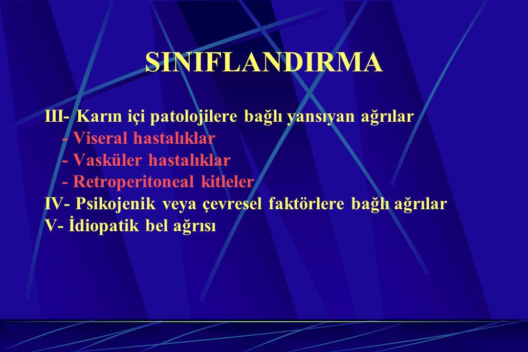SINIFLANDIRMA III- Karın içi patolojilere bağlı yansıyan ağrılar - Viseral hastalıklar - Vasküler hastalıklar - Retroperitoneal kitleler IV- Psikojeni
