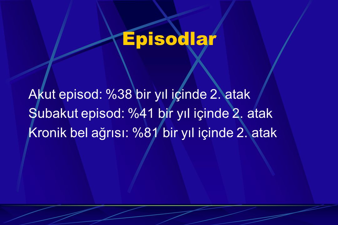 Episodlar Akut episod: %38 bir yıl içinde 2. atak Subakut episod: %41 bir yıl içinde 2. atak Kronik bel ağrısı: %81 bir yıl içinde 2. atak