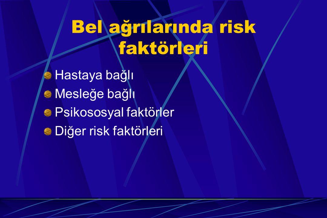 Bel ağrılarında risk faktörleri Hastaya bağlı Mesleğe bağlı Psikososyal faktörler Diğer risk faktörleri
